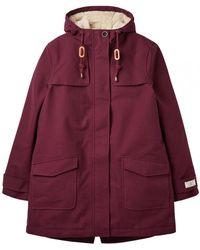 Joules Fleece Lined Waterproof Womens Jacket - Red