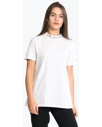 Tommy Hilfiger Logo Mock-neck Tee Ss Tee - White
