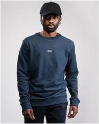 BOSS by HUGO BOSS Weevo 2 Relaxed Fit Logo Organic Cotton Blend Sweatshirt - Blue
