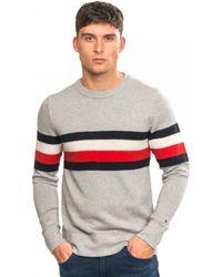 Tommy Hilfiger Soft Global Stripe Sweatshirt - Grey