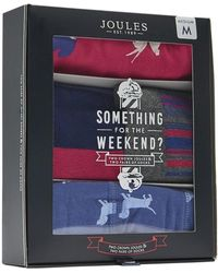 Joules Something For The Weekend Mens 2 Pack Of Pants And Socks Set S/s - Blue