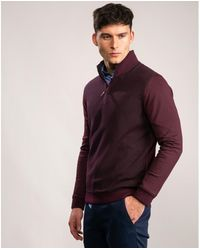Ted Baker Ls Textured Funnel Neck - Purple