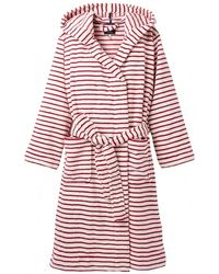 Joules Rita Stripe Fleece Dressing Gown - Red