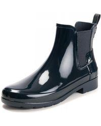 HUNTER Original Refined Gloss Chelsea Ladies Boot - Blue
