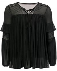 French Connection Zana Sheer Jersey Puff Sleeve Blouse - Black