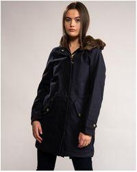 Joules Kempton Womens Parka Jacket Marine Navy Blue