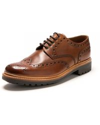 Grenson Archie Tan Hand Painted Brogue - Brown