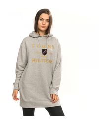 Tommy Hilfiger Logo Embroidery Long Hoody - Grey