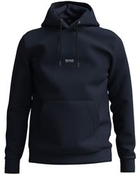 BOSS by HUGO BOSS Weedo 2 Relaxed Fit Organic Cotton Hoodie - Blue