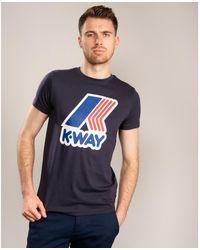 K-Way Pete Macro Logo Slim Fit Tshirt - Blue