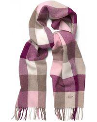 GANT Multicheck Lambswool Womens Scarf - Purple