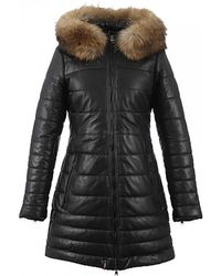 Oakwood Mary Cuir Mouton Downtown Womenslong Quilted Jacket - Black