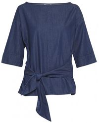 Great Plains Darla Denim Front Tie Womens Top - Blue
