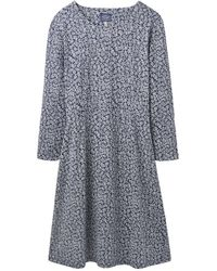 Joules Juliana Fit And Flare Womens Dress With Interest Sleeve (z) - Blue