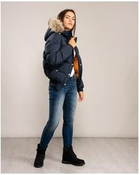 Pyrenex Aviator Soft Fur Jacket - Blue