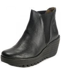 Fly London Yellow Line Womens Shoe - Black