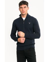GANT Casual Cotton Half Zip Sweater - Blue