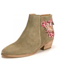 Joules Floral Suede Ankle Boots - Natural