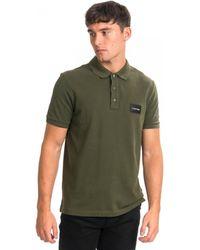 Calvin Klein Pique Contrast Logo Mens Polo Shirt - Green