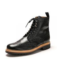 Grenson Fred Commando Wingtip Boots - Black