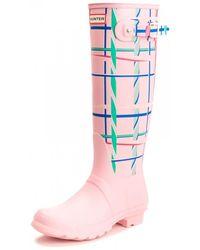 HUNTER Original Tall Rock Tartan Boots - Pink