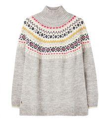 Joules Kristy Raglan Chunky Fairisle Sweater A/w - Gray
