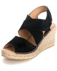 Kanna Ania Cortina Wedged Strap Sandals - Black