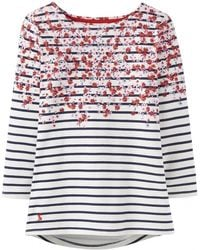 Joules Harbour Print Womens Printed Jersey Top S/s - Red