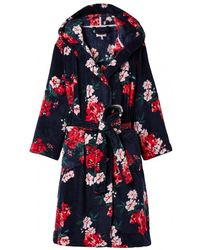 Joules Rita Floral Fleece Dressing Gown - Blue