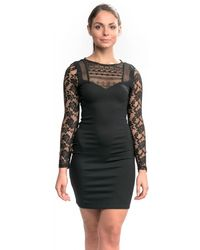 c9f24a351a12e Boohoo Petite Mia Long Sleeve Velvet Glitter Bodycon Dress in Black ...
