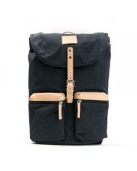 Sandqvist Roald Grand Black Backpack With Black Leather - Blue