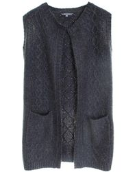 LILY & ME Cable Knit Long Line Marl Ladies Cardigan - Gray