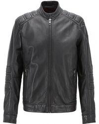 BOSS - Jagson Leather Jacket - Lyst