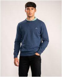 GANT Classic Cotton Crew Sweatshirt - Blue