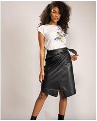 Ted Baker Midi Satin Trim Wrap Skirt - Black