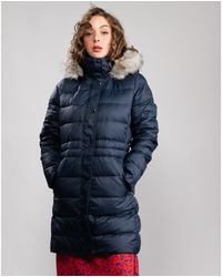 Tommy Hilfiger Essential Tyra Down Fur Coat - Blue