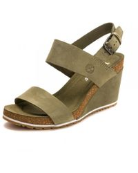 Timberland Capri Sunset Womens Wedge Sandal - Green