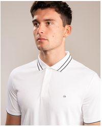 Calvin Klein Soft Interlock Tipping Polo - White