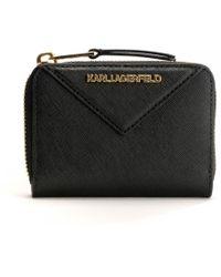 Karl Lagerfeld K/klassik Small Zip Around Wallet - Black