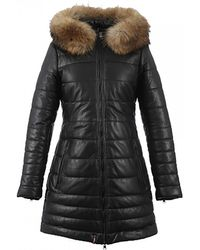 Oakwood Mary Cuir Mouton Downtown Long Quilted Jacket - Black