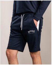 HUGO BOSS Navy Fleece Cotton Gym Athleisure Shorts Half Pants Last Season Sale