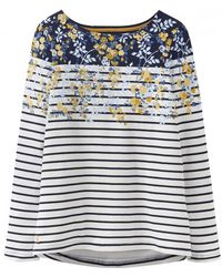 Joules Harbour Printed Long Sleeved Womens Jersey Top (z) - Blue