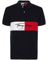 Tommy Hilfiger Autograph Flag Slim Polos - Blue