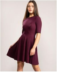 Ted Baker Renyina Stitch Detail Knitted Skater Dress - Purple