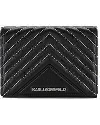 Karl Lagerfeld K/klassik Quilted Fold Wallet - Black