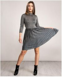 Ted Baker High Neck Knitted Midi Dress - Grey