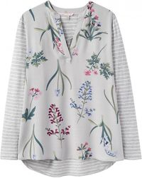 Joules Beatrice Jersey Woven Mix Top (y) - Multicolour