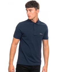 Calvin Klein Pique Logo Badge Polo - Blue