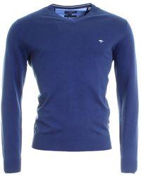 Fynch-Hatton V-neck Mens Jumper - Blue