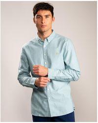 Farah Brewer Slim Long Sleeve Button Down Shirt - Blue